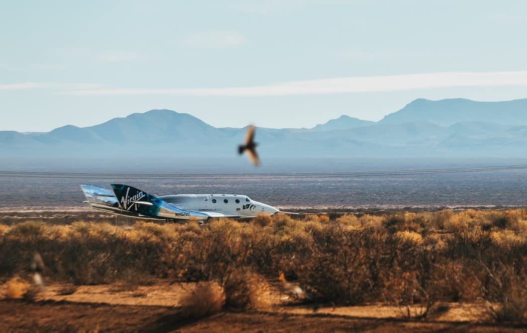 """SpaceShipTwo """"Unity"""" on the runway after an aborted spaceflight test on Dec. 12, 2020. Virgin Galactic"""